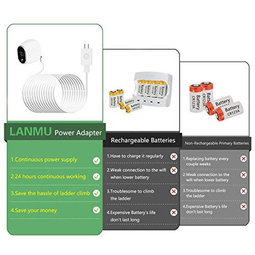 LANMU Weatherproof Outdoor Power Adapter Compatible with Arlo Security Camera VMC3030,Replace Lithium Batteries CR123A (26ft/8m)(Not for Arlo Pro/Pro 2/ Ultra/Pro 3)