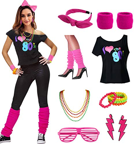 esrtyeryh Women Costume Womens I Love The 80's Disco 80s Costume Outfit Accessories, Hot Pink, -