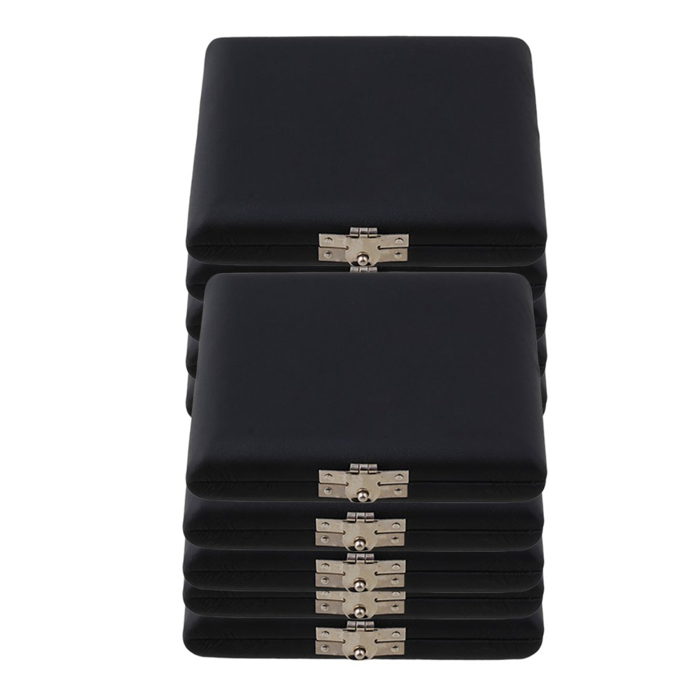 Mxfans 9.2x7.8x2cm PU Leather Oboe Reed Case Holder for 6 Reeds Black Pack of 10