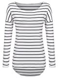 POGTMM Long Sleeve Tunics For Women To Wear With Leggings (S, Black and White)