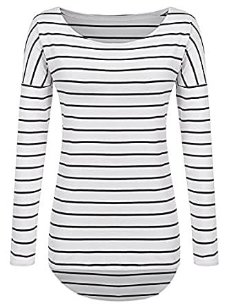Pogtmm long sleeve striped t shirt tunic tops for leggings for Black and white striped long sleeve shirt women