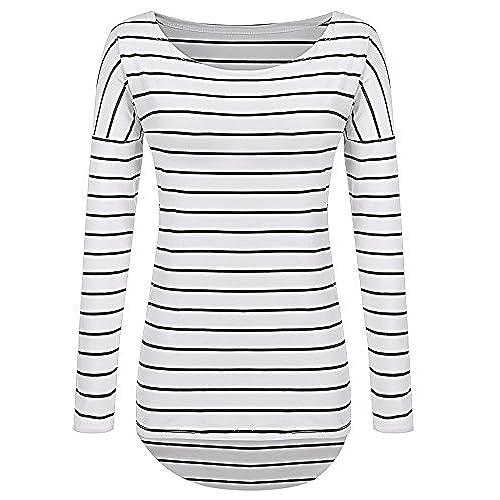 Women's Black and White Striped Shirt: Amazon.com