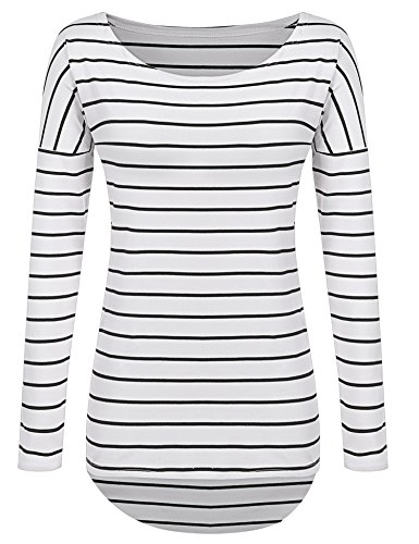 POGTMM Striped Long Sleeve T-Shirts High-Low Hem Long Shirts Tunic Tops For Leggings For Women (XXL-US 14-16, Black and White Stripes) (Long Striped T-shirt)
