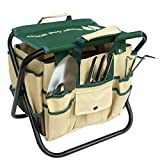 #9: Wings and Water 7 Piece Garden Tool Set, All-In-One Tool Bag, Durable Folding Stool, Stainless Steel
