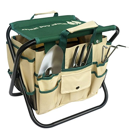 Wings and Water 7 Piece Garden Tool Set, All-In-One Tool Bag, Durable Folding Stool, Stainless Steel (Home Gardening Tools)