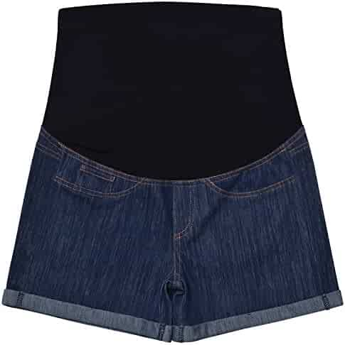 2dce927ea6da1 Maternity Denim Jean Shorts Lounge Shorts Pregnancy Short Pants Over The  Belly Full Panel