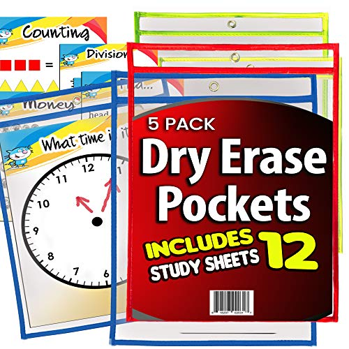 (iPrimio Dry Erase Learning Sheets (5 Pack) - Includes 12 Learning Sheets - Multicolored Pockets - Wipes Clean - Fits 9