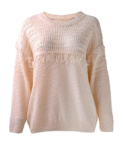 ZLYC Women Light Color Soft Touch Textured Knit Crochet Jumper Fringe Sweater, Light Pink