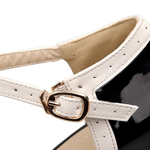 Assorted Black Buckle Round Women's Color Closed PU Heels High Toe Sandals WeenFashion XTaFqBw