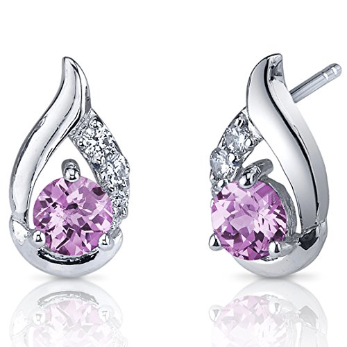 Created Pink Sapphire Earrings Sterling Silver Rhodium Nickel Finish 1.50 Carats Cuff Style Pink Sapphire Cluster Earrings