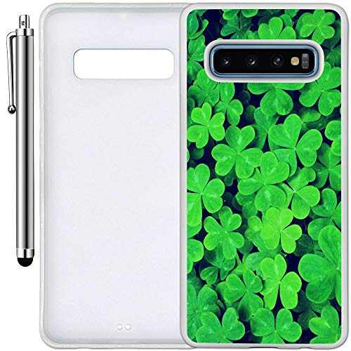 (Custom Case Compatible with Galaxy S10 (Lucky Shamrock Pattern) Edge-to-Edge Rubber White Cover Ultra Slim | Lightweight | Includes Stylus Pen by Innosub)