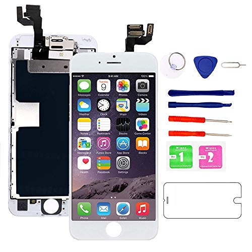 Nroech Screen Replacement for iPhone 6S 4.7 White, 6S 3D Touch Screen LCD Digitizer Display Full Assembly with Front Camera - Ear Speaker - Repair Tool Kit - Protector