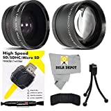 55MM Telephoto 2.2x and Wide Angle w/ Macro Close-Up Attachment Conversion Lens For Sony a7, a7S, a7IIK, a7II, a7R II Mirrorless, SLT A57 A58, A58K, A65, A65V, a68, A77, A77II, A99V DIgital SLR Camera