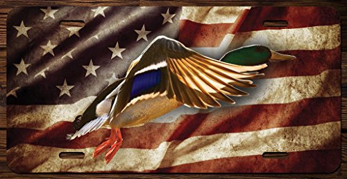 KCD Duck With American Flag Hunting Vanity Front License Plate Tag Printed Full Color KCFP063 (Hunting License Tag)