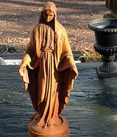 Round Wood Madera Redonda de Hierro Fundido óxido Virgen María ...