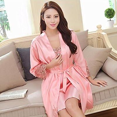 cac55ea30 Pijama Sexy Falda Mujer Verano Seda de Seda de Seda Vestido de camisón  camisón Dos Conjuntos. Cargando imágenes.