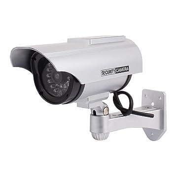 sourcing map Cámara de seguridad falso LED que parpadea la luz solar interior exterior: Amazon.es: Bricolaje y herramientas
