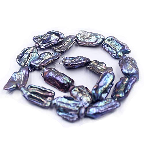 (SR BGSJ Jewelry Making Natural 12x18mm Freshwater Reborn Biwa Baroque Reborn Pearl Spacer Beads Strand 15