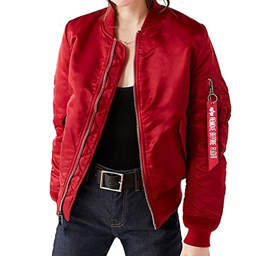 GWELL Men's Stylish Oversized Bomber Jacket Casual Outdoor Military Sportswear Windbreaker Classic Air Force Coat Lightweight Loose for Spring Autumn Winter (Red, M)