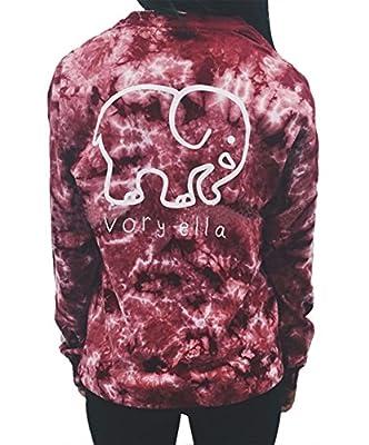 Women Casual Elephant Print Hoodie Sweatshirt Long Sleeve Pockets Top Blouses