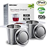 Loose Leaf Tea Infuser & Strainer by Simple Drink (2 Pack) - Ultra Fine Stainless Steel Tea Steeper with Double Handles for Hanging on Teapots, Mugs, Cups