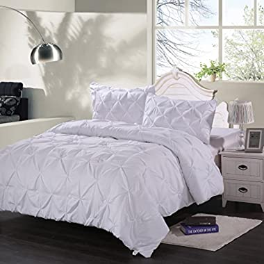 Homehug® 1800 Thread Count 3Pc Microfiber Polyester Brushed Bedding Comforter Sets Sheets Queen Size Solid Color Pure White (Queen Size)