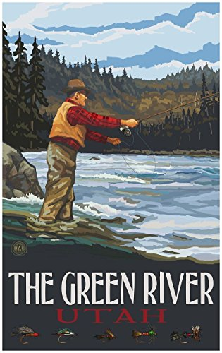 The Green River Utah Fly Fisherman Stream Hills Travel Art P