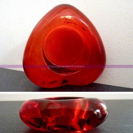 Bougeoir Forme Coeur, en Verre Rouge, 8 cm x Haut. 2,5 cm CePe