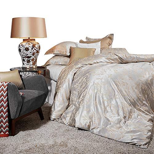 CARESEEN 寝具4ピースセット80 s / 60 s綿シルクインターレースABバージョンデザインストラップ位置決めジッパーデザイン2枕カバー1枚のシート1キルトカバー2サイズオプションの家の寝室の誕生日プレゼント (サイズ さいず : 1.8m) B07P95W2WZ  1.8m