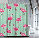 Pink and Turquoise Shower Curtain Livilan Bright Flamingo Shower Curtain Set Summer Theme 72