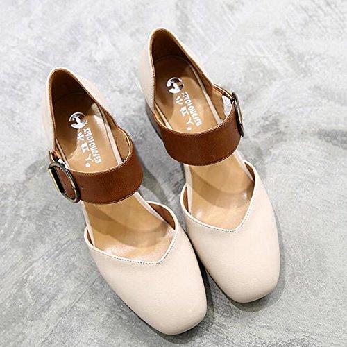 Sandalias CJC Cabeza Hueco Mujer Medio Primavera Verano De Las Mujeres Zapatos Europeo Estación Grueso Tacón 2
