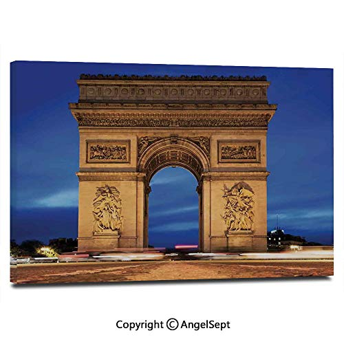 (Home Decoration Painting Wall Mural Arc de Triomphe Paris France at Night. View from Avenue des Champs Elysees Living Room Dining Room Studying Aisle Painting,16