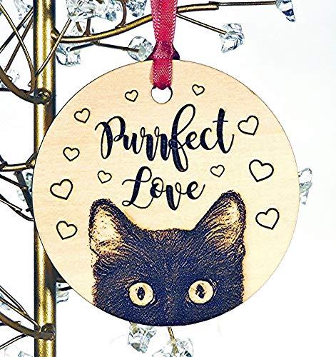 Cat Ornament, Cat Christmas Wood Ornament, Black, Orange, Gray, Tabby or Siamese, Add Custom Text]()
