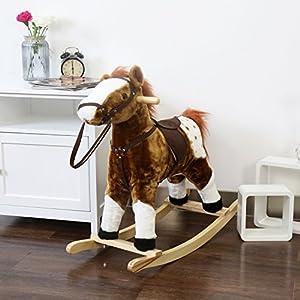 Kinbor Baby Kids Toy Plush Wooden Rocking Horse Boy Riding Rocker with Sound, Dark Brown
