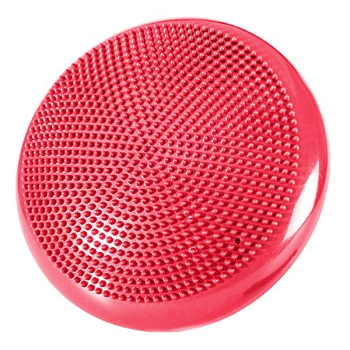 REEHUT Inflated Stability Wobble Cushion, Balance Disc Trainer 13 Diameter for Workout, Therapy, Fitness and Training Exercise with Free Air Pump and Ebook (Red)