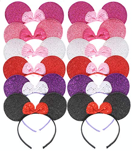 RufnTop Mickey and Minnie Mouse Ears Headband(Sparkled Mix Set of