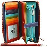 Visconti Spectrum SP40 Multi Colored Soft Leather Ladies Wallet Purse Clutch With Detachable Strap