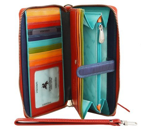 Visconti Spectrum SP40 Multi Colored Soft Leather Ladies Wallet Purse Clutch With Detachable Strap (Red Multi)