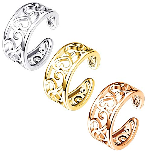 FIBO STEEL 3 Pcs Toe Rings for Women Girls Flower Open Tail Ring Adjustable (B: 3 Pcs a Set) from FIBO STEEL