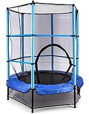 Klarfit Rocketkid trampoline - tuintrampoline, trampoline voor buiten, 140 cm doorsnee, veiligheidsnet, bungeekoordophanging, belastbaar tot 50 kg, beklede stokken, blauw