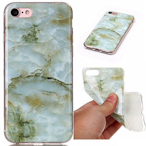 Apple iPhone 7+ / 8+ Plus Marble Design Geode Rock Mineral Pattern Colorful Vein Drop Proof Smooth Flexible Thin Cover [ TPU Gel Case ] Naked Protection Shockproof Protective (Green)