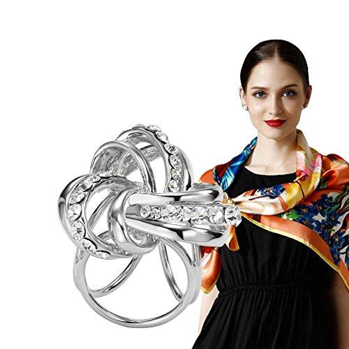 S&E Women's Elegant Three Ring Diamante Metallic Silk Scarves Clip Fashionable Scarf Ring Chiffon Buckle (Scarf Ring)