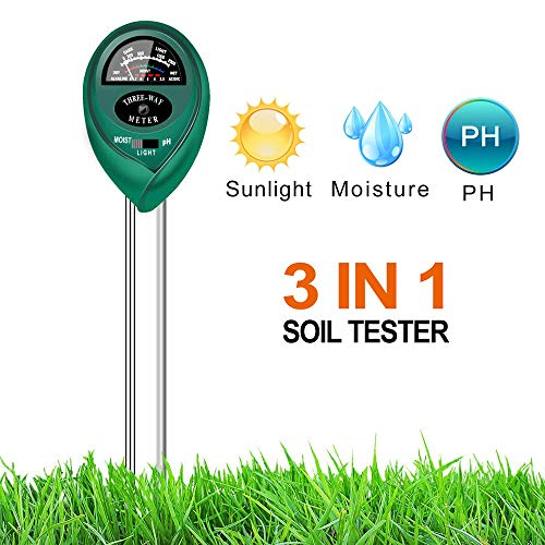 XHBEAR 3-in-1 Soil Moisture Sensor Meter and PH Acidity Tester, Plant Tester for Garden, Farm, Lawn, Indoor & Outdoor Use(No Battery Needed) ()