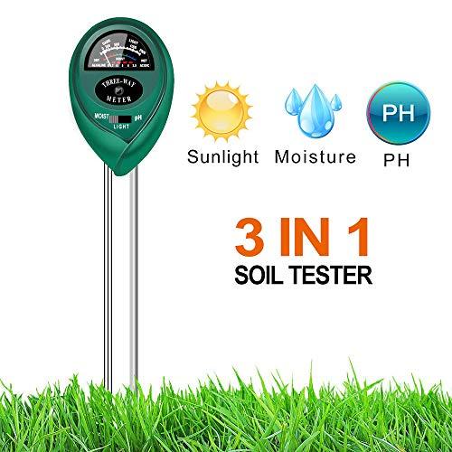 XHBEAR Medidor de sensor de humedad del suelo 3 en 1 y medidor de acidez PH, probador de plantas para jardín, granja, césped, uso en interiores y exteriores (no se necesita batería)