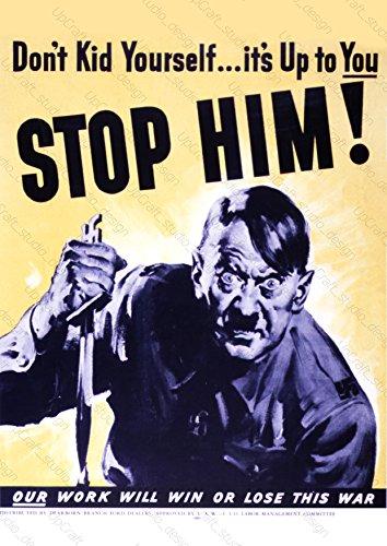 (UpCrafts Studio Design Anti Fascist Poster, WW2 Propaganda American Anti Hitler Print (11.7x16.5 inch (A3 Size), Unframed Prints) )