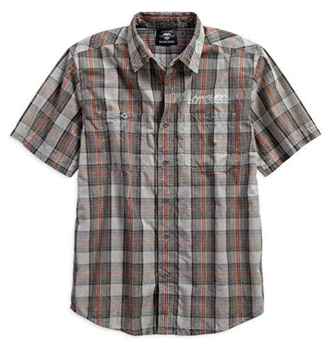 - Harley-Davidson Men's Distressed Washed Plaid Short Sleeve Shirt 96119-18VM (L) Orange
