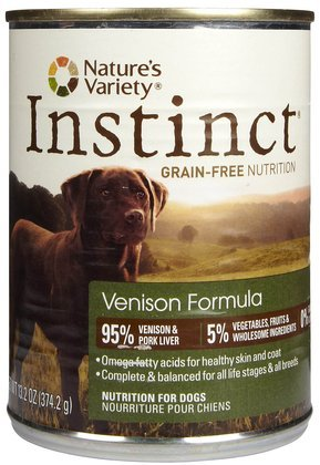 Price comparison product image Instinct Grain Free Venison Formula Natural Wet Canned Dog Food by Nature's Variety,  13.2 oz. Cans (Case of 12)