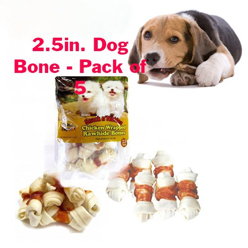 Alpha Dog Series Chicken Rawhide Bones 2.5 Inch -4oz (Pack of 5)