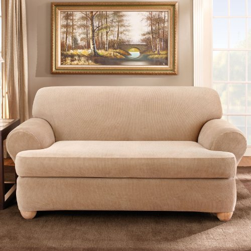 Sand Loveseat (Sure Fit Stretch Stripe 2-Piece - Loveseat Slipcover  - Sand)