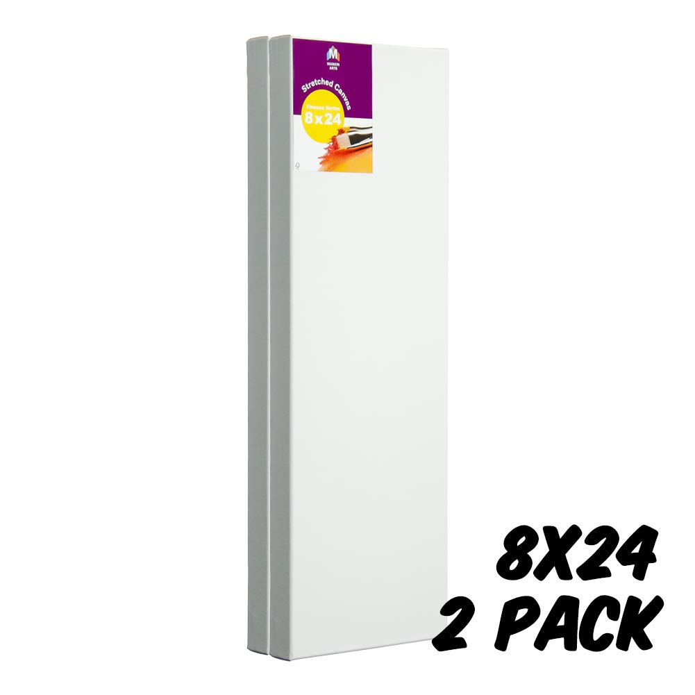 Markin Arts Finesse Series 1.5'' Profile Swedish Solid Wood Acid/Discolor Free 100% Grade A Cotton Titanium Acrylic Gesso Primed Tabletop Vertical Horizontal Long Stretched Decor Canvas 8x24'' 2-Pack by Markin Arts